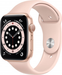 Apple Watch Series 6 (GPS only 44mm Gold Aluminum Case with Pink Sand Sport Band - Gold) M00E3