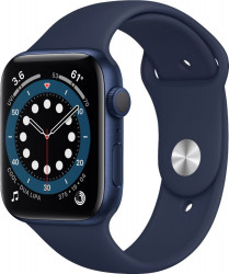 Apple Watch Series 6 (GPS only 44mm Blue Aluminum Case with Deep Navy Sport Band - Blue) M00J3