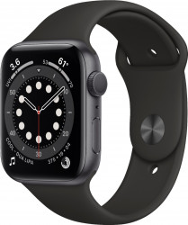 Apple Watch Series 6 (GPS Only, 44mm, Space Gray Aluminum, Black Sport Band) M00H3
